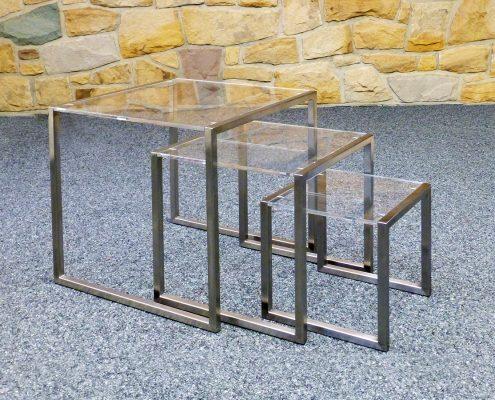 Edelstahl-Beistelltische mit Acrylglas von HammerDesign